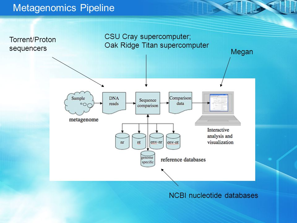 Metagenomics Pipeline CSU Cray supercomputer; Oak Ridge Titan supercomputer Torrent/Proton sequencers Megan NCBI nucleotide databases