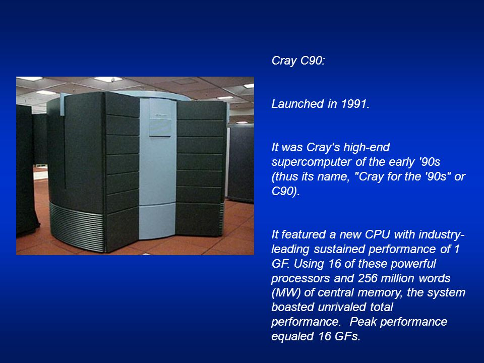 Cray C90: Launched in 1991. It was Cray's high-end supercomputer of the early '90s (thus its name,