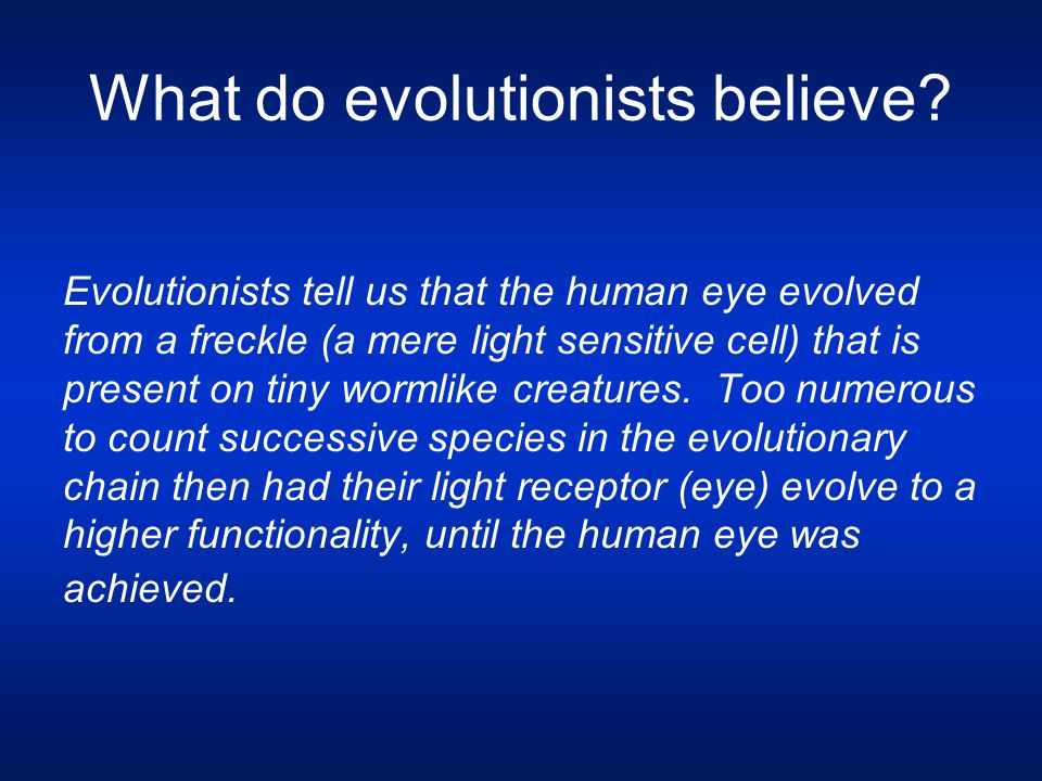 What do evolutionists believe? Evolutionists tell us that the human eye evolved from a freckle (a mere light sensitive cell) that is present on tiny w