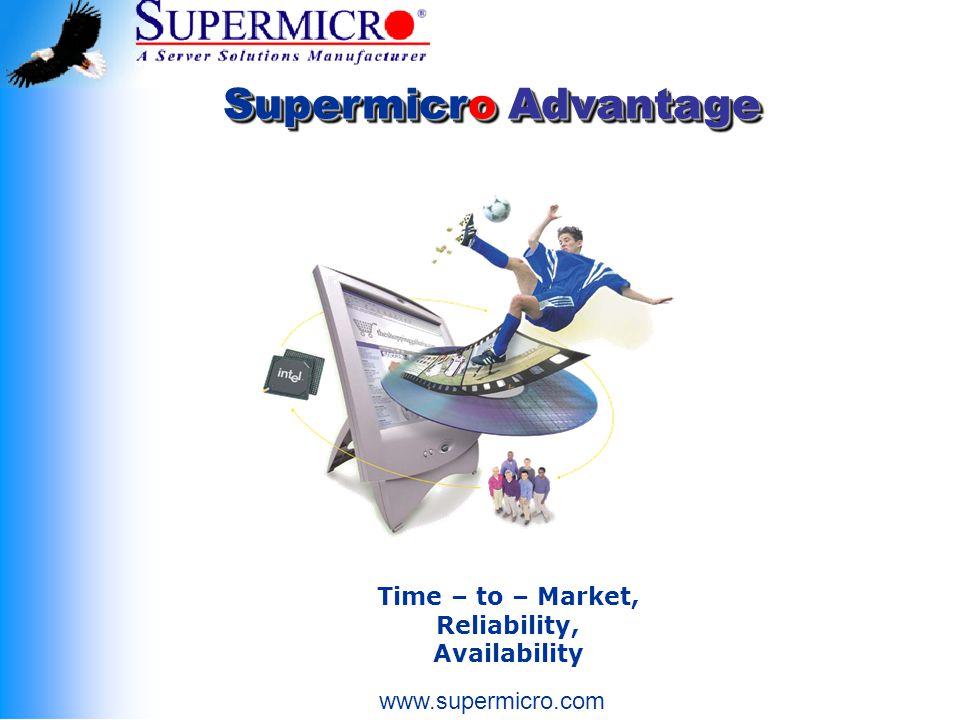 Supermicro Advantage Time – to – Market, Reliability, Availability www.supermicro.com