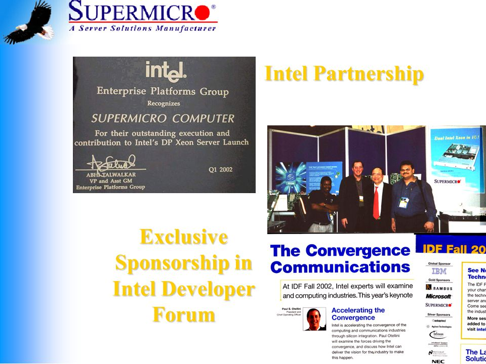 Intel Partnership Exclusive Sponsorship in Intel Developer Forum