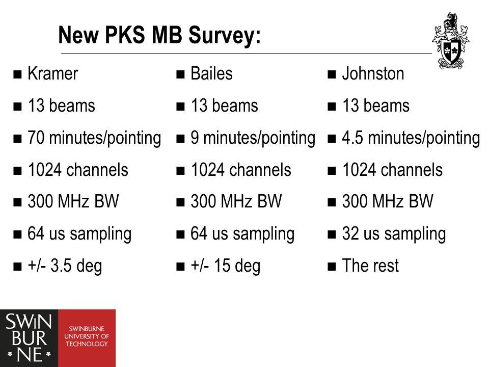 New PKS MB Survey: Bailes 13 beams 9 minutes/pointing 1024 channels 300 MHz BW 64 us sampling +/- 15 deg Kramer 13 beams 70 minutes/pointing 1024 chan
