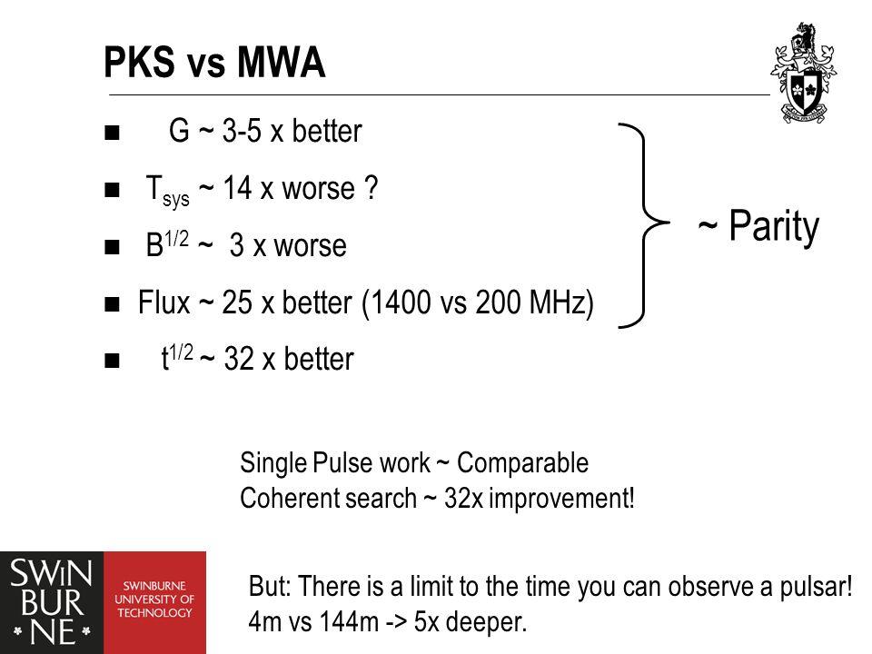 PKS vs MWA G ~ 3-5 x better T sys ~ 14 x worse .