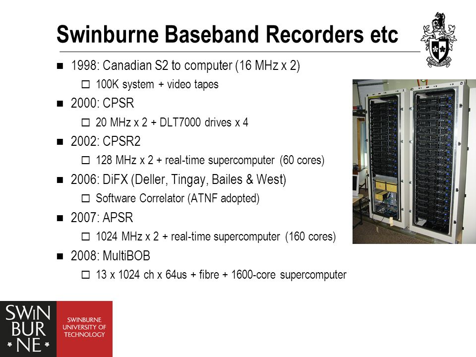 Swinburne Baseband Recorders etc 1998: Canadian S2 to computer (16 MHz x 2)  100K system + video tapes 2000: CPSR  20 MHz x 2 + DLT7000 drives x 4 2002: CPSR2  128 MHz x 2 + real-time supercomputer (60 cores) 2006: DiFX (Deller, Tingay, Bailes & West)  Software Correlator (ATNF adopted) 2007: APSR  1024 MHz x 2 + real-time supercomputer (160 cores) 2008: MultiBOB  13 x 1024 ch x 64us + fibre + 1600-core supercomputer
