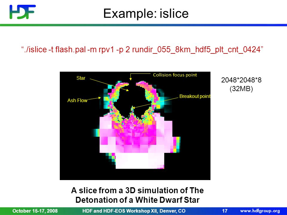 October 15-17, 2008HDF and HDF-EOS Workshop XII, Denver, CO17 Example: islice Breakout point Ash Flow Star A slice from a 3D simulation of The Detonation of a White Dwarf Star ./islice -t flash.pal -m rpv1 -p 2 rundir_055_8km_hdf5_plt_cnt_0424 2048*2048*8 (32MB)