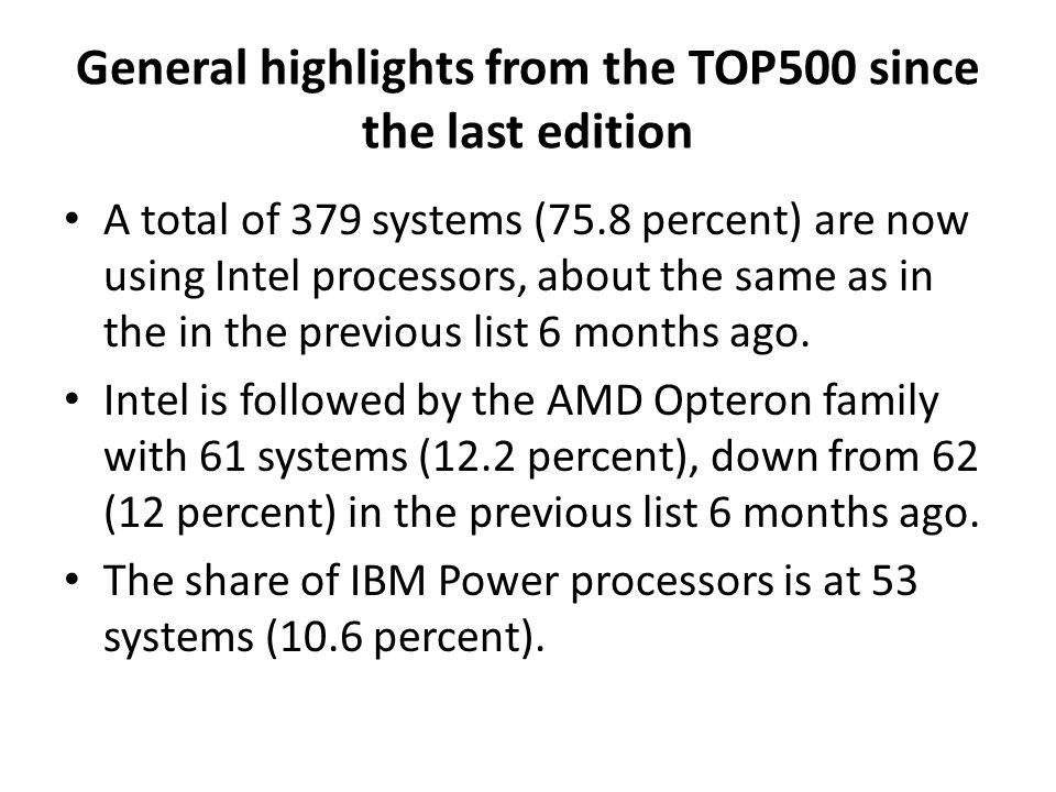 General highlights from the TOP500 since the last edition A total of 379 systems (75.8 percent) are now using Intel processors, about the same as in t