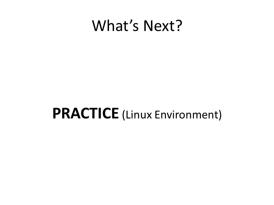 What's Next? PRACTICE (Linux Environment)