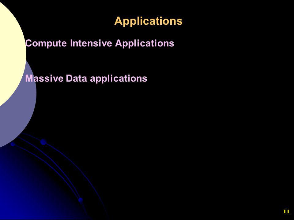 11 Compute Intensive Applications Massive Data applications Applications