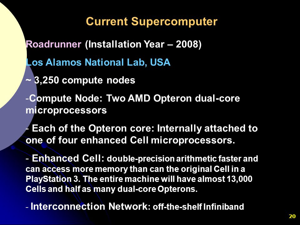 20 Roadrunner (Installation Year – 2008) Los Alamos National Lab, USA ~ 3,250 compute nodes -Compute Node: Two AMD Opteron dual-core microprocessors -