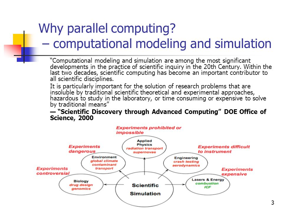 "3 Why parallel computing? – computational modeling and simulation ""Computational modeling and simulation are among the most significant developments i"