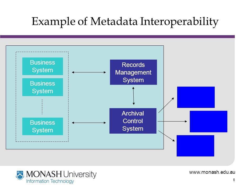 www.monash.edu.au 8 Example of Metadata Interoperability Records Management System Archival Control System Business System