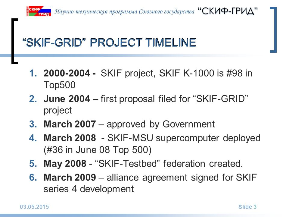 03.05.2015Slide 3 SKIF-GRID PROJECT TIMELINE 1.2000-2004 - SKIF project, SKIF K-1000 is #98 in Top500 2.June 2004 – first proposal filed for SKIF-GRID project 3.March 2007 – approved by Government 4.March 2008 - SKIF-MSU supercomputer deployed (#36 in June 08 Top 500) 5.May 2008 - SKIF-Testbed federation created.