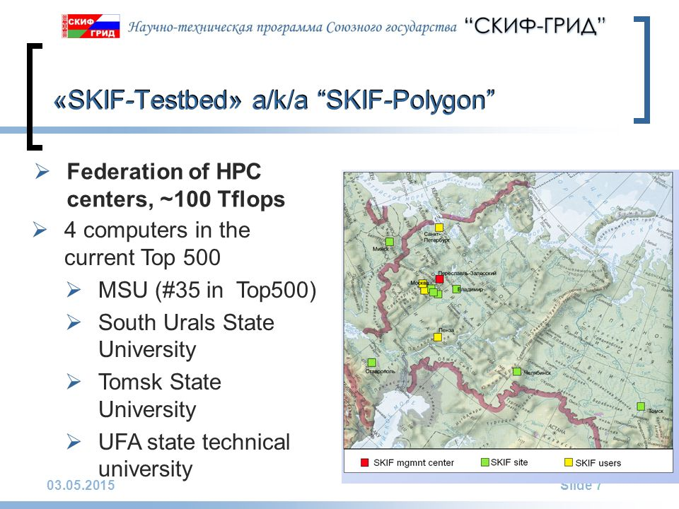 03.05.2015Slide 7 «SKIF-Testbed» a/k/a SKIF-Polygon  Federation of HPC centers, ~100 Tflops  4 computers in the current Top 500  MSU (#35 in Top500)  South Urals State University  Tomsk State University  UFA state technical university