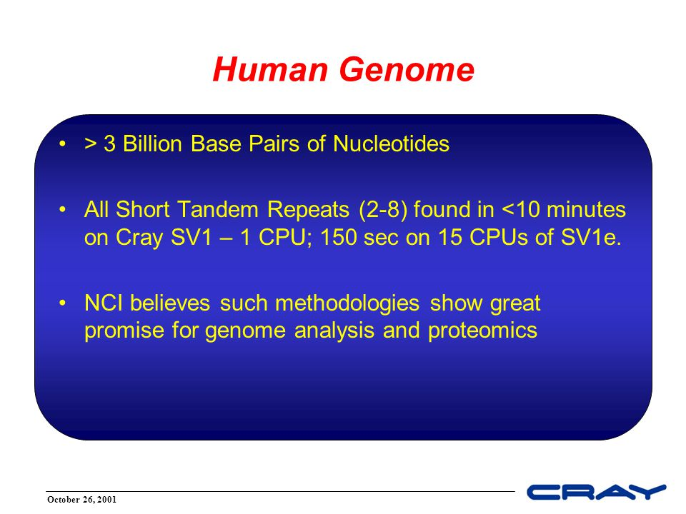 October 26, 2001 Unique Cray Features Several capabilities, not just one –Unique, hard-to-replicate combination of hardware features –Benefits from applying multiple processors (CPUs) Originally created for intelligence community –~100x faster than anything else for classified problems –Key bioinformatics problems look like classified problems Bioinformatics 'connection' was serendipitous –One clever individual Resident in Cray SV1, MTA-2, SV2 –Experience to date is with SV1 series Cray SV1™ Supercomputer