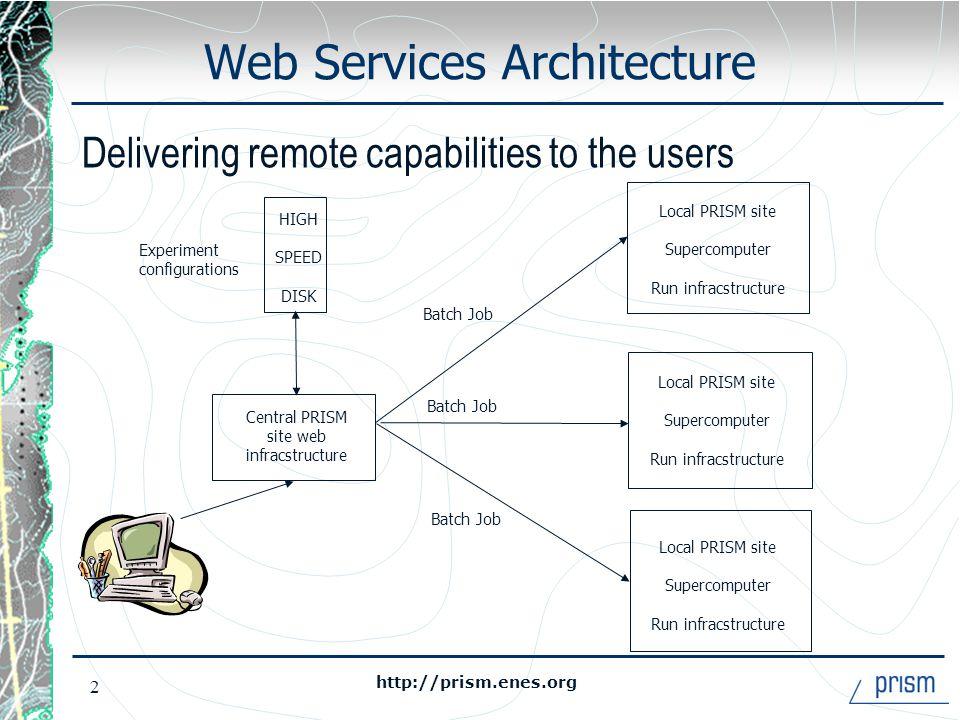 http://prism.enes.org 3 Web Software Components Tomcat Apache Netscape Java server Java server Climate model Climate model Web Server Domain Server Application Server Super- computer Domain Server Super- computer
