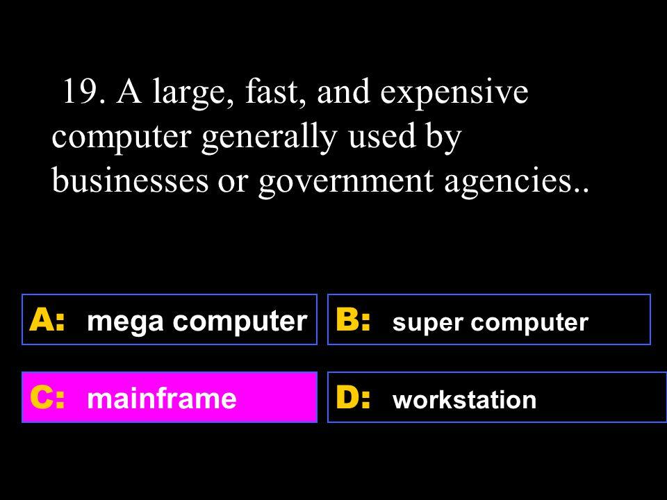 D: workstation A: mega computer C: mainframe B: super computer 19.