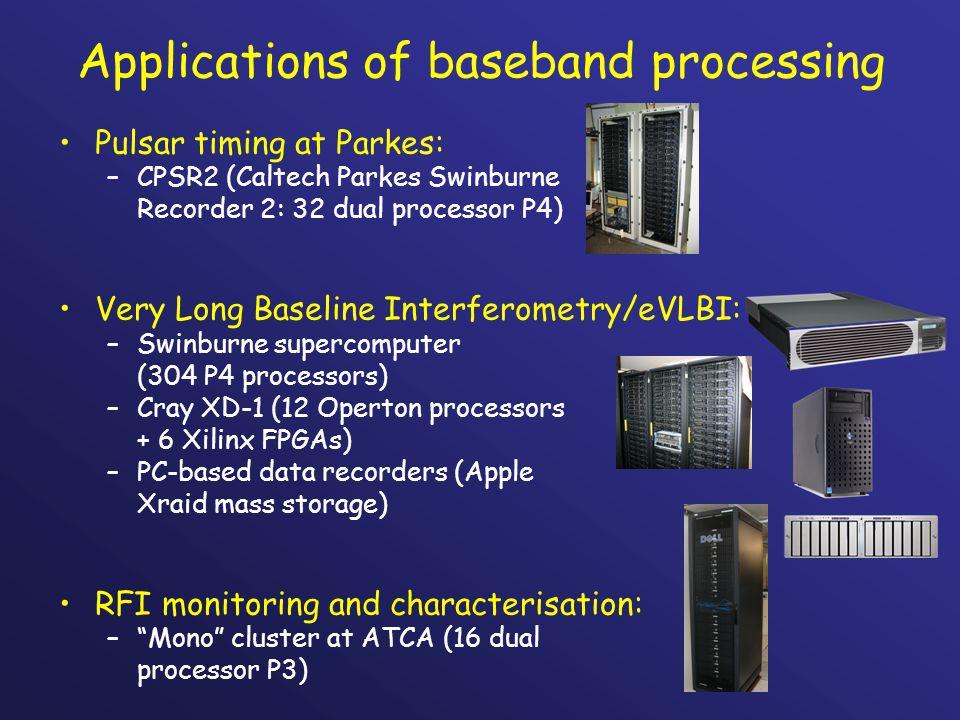 Applications of baseband processing Pulsar timing at Parkes: –CPSR2 (Caltech Parkes Swinburne Recorder 2: 32 dual processor P4) Very Long Baseline Int