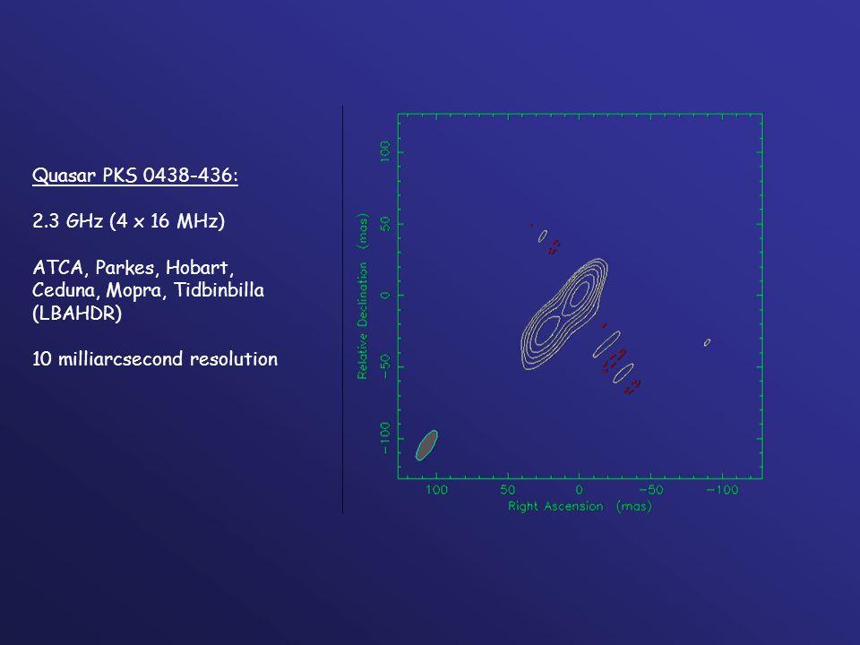 Quasar PKS 0438-436: 2.3 GHz (4 x 16 MHz) ATCA, Parkes, Hobart, Ceduna, Mopra, Tidbinbilla (LBAHDR) 10 milliarcsecond resolution