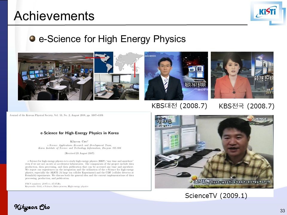 Kihyeon Cho e-Science for High Energy Physics KBS 대전 (2008.7) ScienceTV (2009.1) Achievements KBS 전국 (2008.7) 33