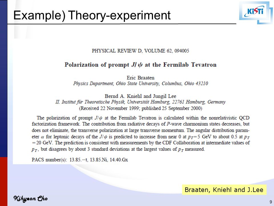 Kihyeon Cho Example) Theory-experiment Braaten, Kniehl and J.Lee 9