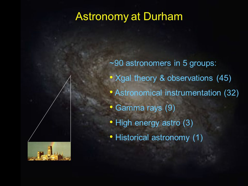 ~90 astronomers in 5 groups: Xgal theory & observations (45) Astronomical instrumentation (32) Gamma rays (9) High energy astro (3) Historical astrono
