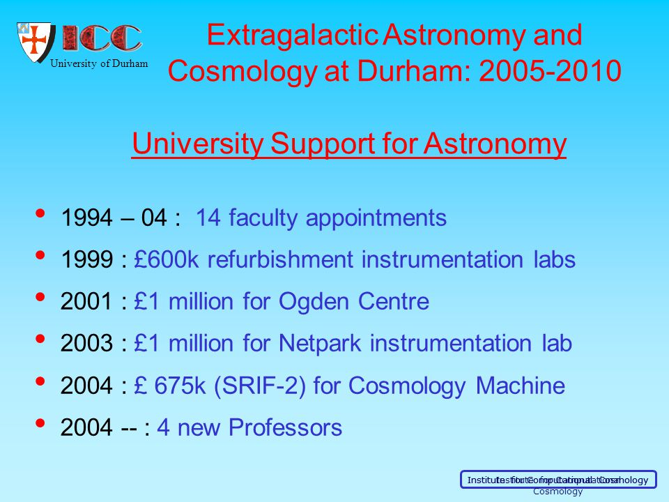 University of Durham Institute for Computational Cosmology 1994 – 04 : 14 faculty appointments 1999 : £600k refurbishment instrumentation labs 2001 :