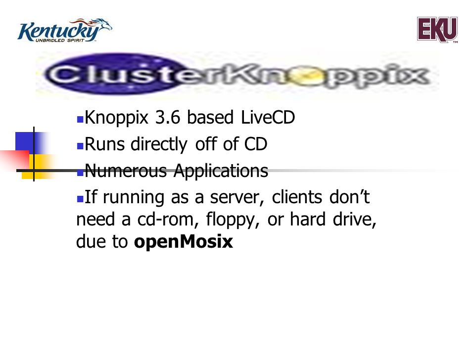 9 How to install ClusterKnoppix Configure network first by physically hook one of the computers up to a router or some type of networking device.