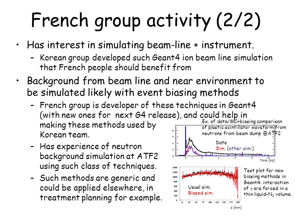 French group activity (2/2) Has interest in simulating beam-line + instrument.