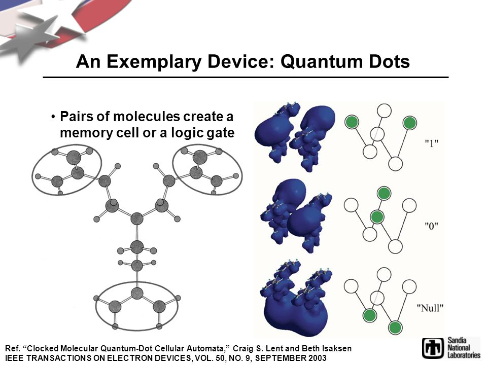"An Exemplary Device: Quantum Dots Pairs of molecules create a memory cell or a logic gate Ref. ""Clocked Molecular Quantum-Dot Cellular Automata,"" Crai"