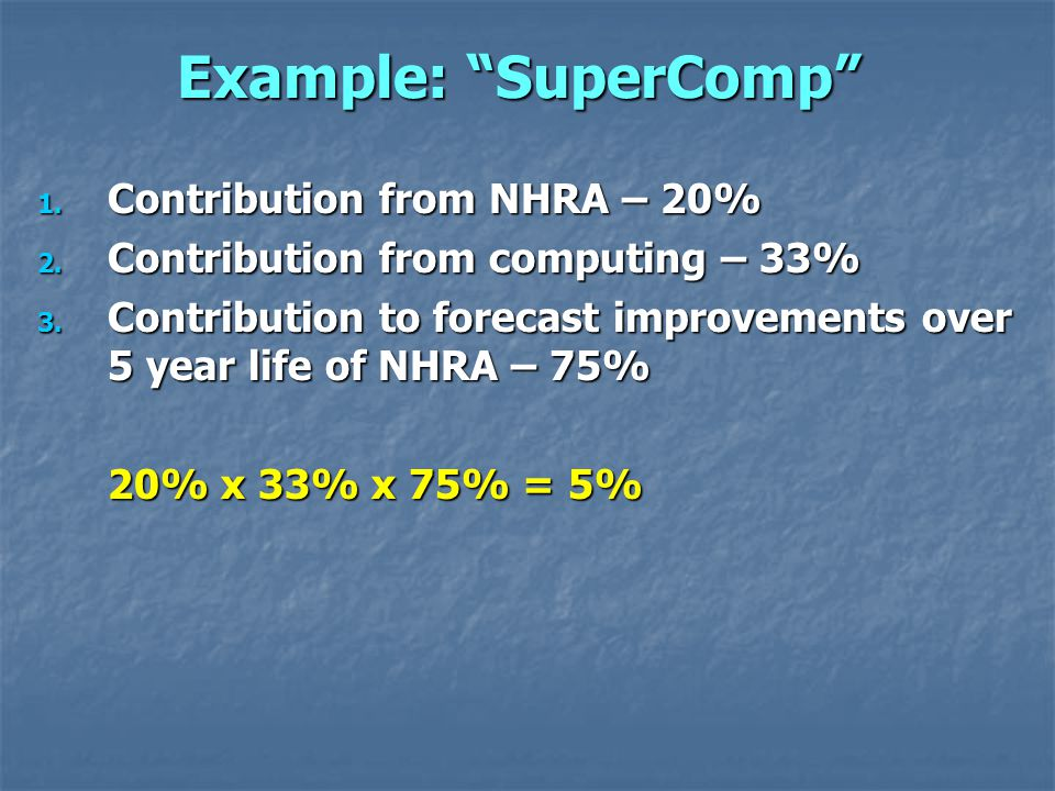 Example: SuperComp 1. Contribution from NHRA – 20% 2.
