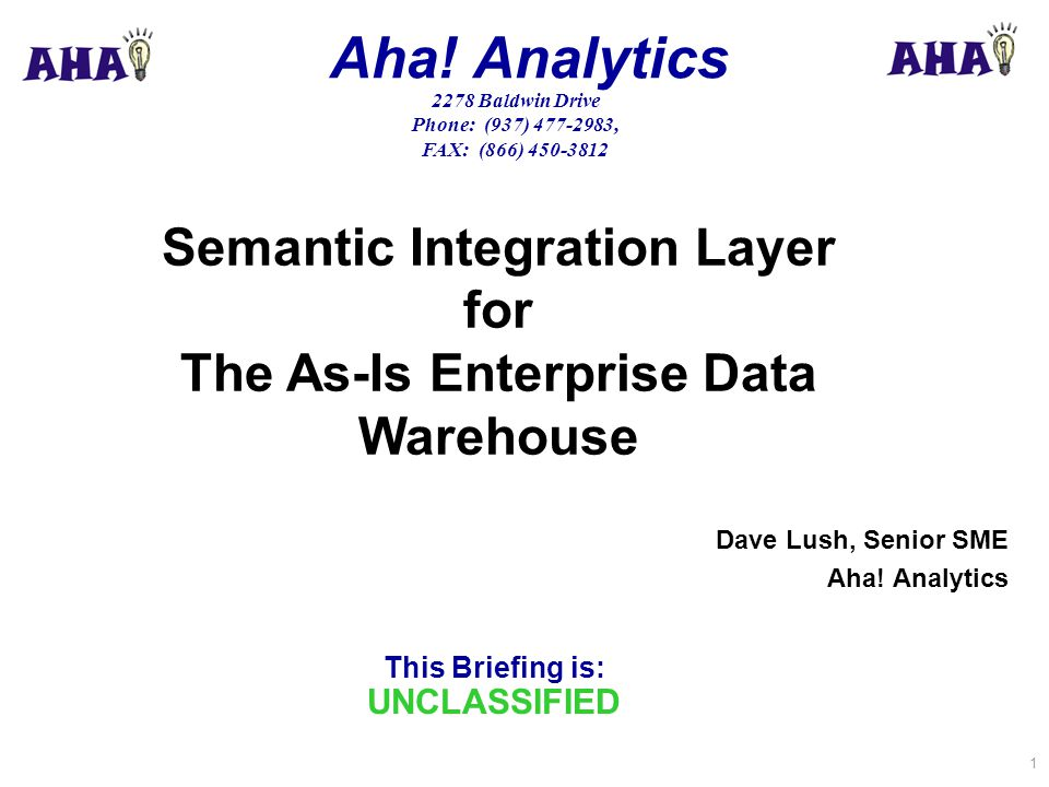 This Briefing is: UNCLASSIFIED Aha! Analytics 2278 Baldwin Drive Phone: (937) 477-2983, FAX: (866) 450-3812 1 Dave Lush, Senior SME Aha! Analytics Sem