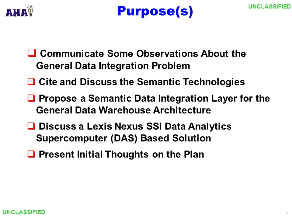 UNCLASSIFIED 3 Topics  Purpose  Background  Givens/Problems/Tasks  Approaches to Data/Info Integration  Semantic Technologies  General Solution Architecture  LNSSI DAS Based Solution Architecture  Thoughts On the Plan
