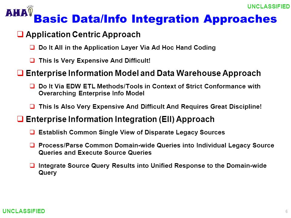 UNCLASSIFIED 7 The Basic Data Integration Challenge Data Interface Legacy Databases Application Data Interface The application must process the unified query, formulate and submit associated queries against the disparate databases, and properly integrate the results into a unified response.