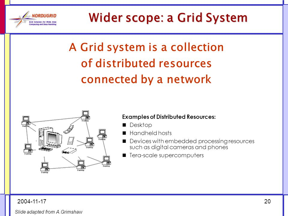 2004-11-1720 Wider scope: a Grid System A Grid system is a collection of distributed resources connected by a network Examples of Distributed Resources: Desktop Handheld hosts Devices with embedded processing resources such as digital cameras and phones Tera-scale supercomputers Slide adapted from A.Grimshaw