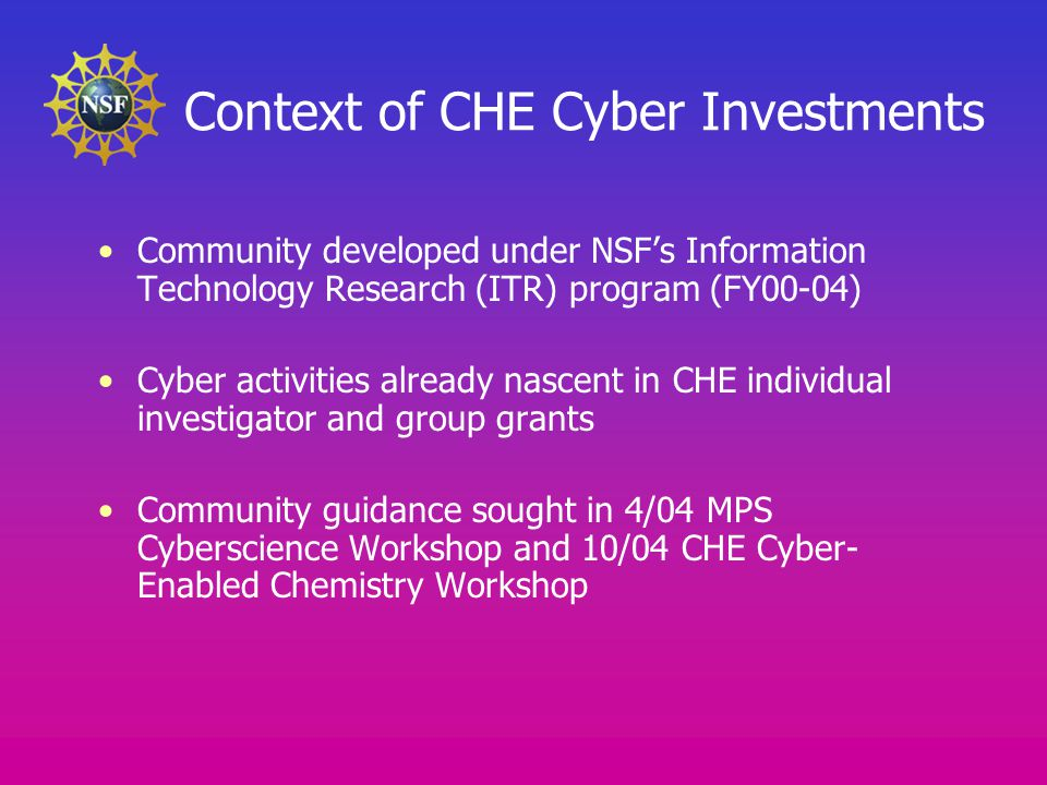 Context of CHE Cyber Investments Community developed under NSF's Information Technology Research (ITR) program (FY00-04) Cyber activities already nascent in CHE individual investigator and group grants Community guidance sought in 4/04 MPS Cyberscience Workshop and 10/04 CHE Cyber- Enabled Chemistry Workshop