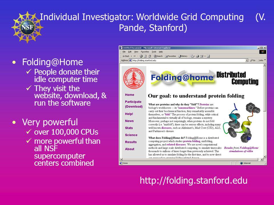 Individual Investigator: Worldwide Grid Computing (V.