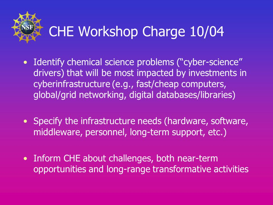 CHE Workshop Charge 10/04 Identify chemical science problems ( cyber-science drivers) that will be most impacted by investments in cyberinfrastructure (e.g., fast/cheap computers, global/grid networking, digital databases/libraries) Specify the infrastructure needs (hardware, software, middleware, personnel, long-term support, etc.) Inform CHE about challenges, both near-term opportunities and long-range transformative activities