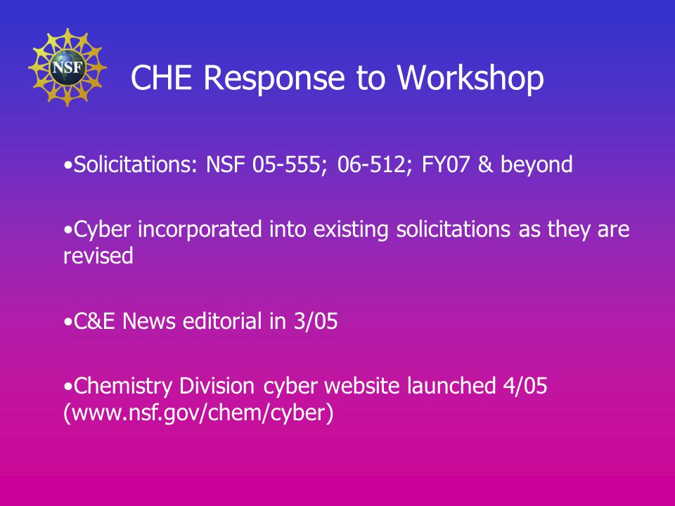 CHE Response to Workshop Solicitations: NSF 05-555; 06-512; FY07 & beyond Cyber incorporated into existing solicitations as they are revised C&E News editorial in 3/05 Chemistry Division cyber website launched 4/05 (www.nsf.gov/chem/cyber)