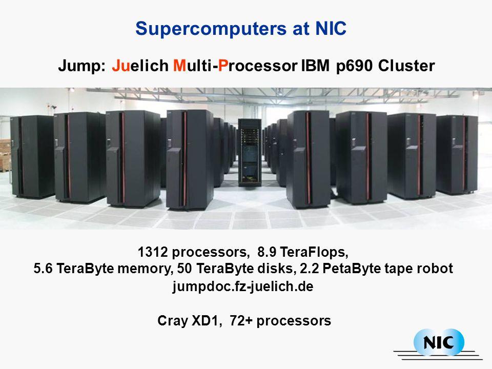 1312 processors, 8.9 TeraFlops, 5.6 TeraByte memory, 50 TeraByte disks, 2.2 PetaByte tape robot jumpdoc.fz-juelich.de Supercomputers at NIC Jump: Juelich Multi-Processor IBM p690 Cluster Cray XD1, 72+ processors