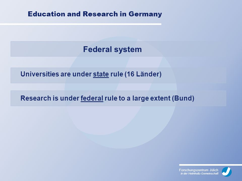 Forschungszentrum Jülich in der Helmholtz-Gemeinschaft Education and Research in Germany Federal system Universities are under state rule (16 Länder) Research is under federal rule to a large extent (Bund)