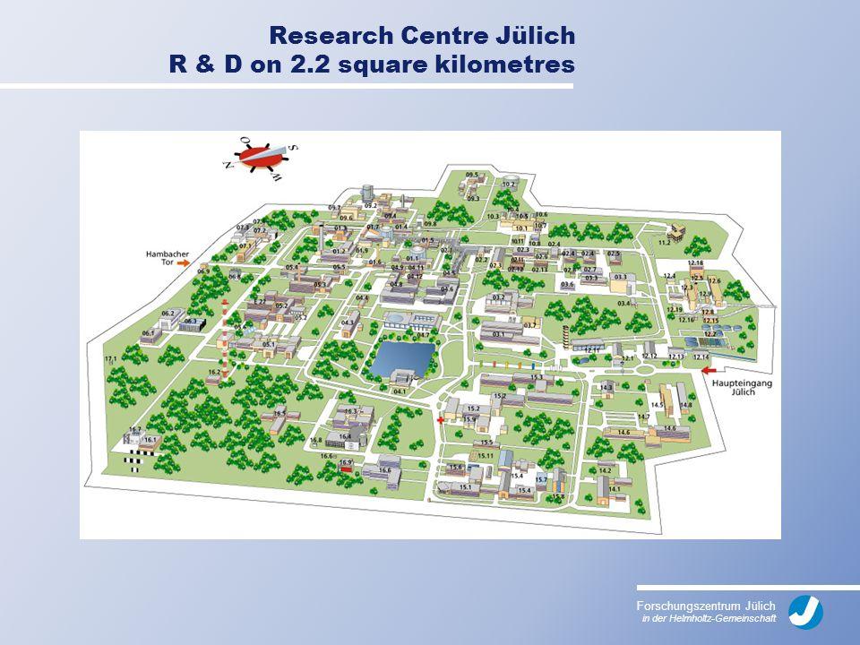 Forschungszentrum Jülich in der Helmholtz-Gemeinschaft Research Centre Jülich R & D on 2.2 square kilometres