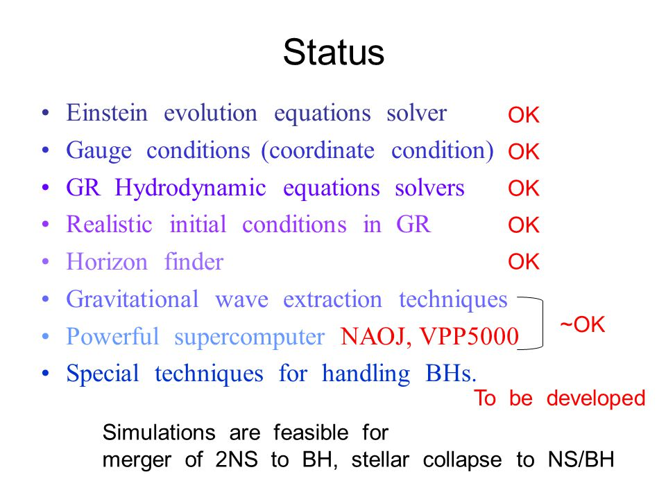 Status OK ~OK To be developed Simulations are feasible for merger of 2NS to BH, stellar collapse to NS/BH Einstein evolution equations solver Gauge conditions (coordinate condition) GR Hydrodynamic equations solvers Realistic initial conditions in GR Horizon finder Gravitational wave extraction techniques Powerful supercomputer NAOJ, VPP5000 Special techniques for handling BHs.