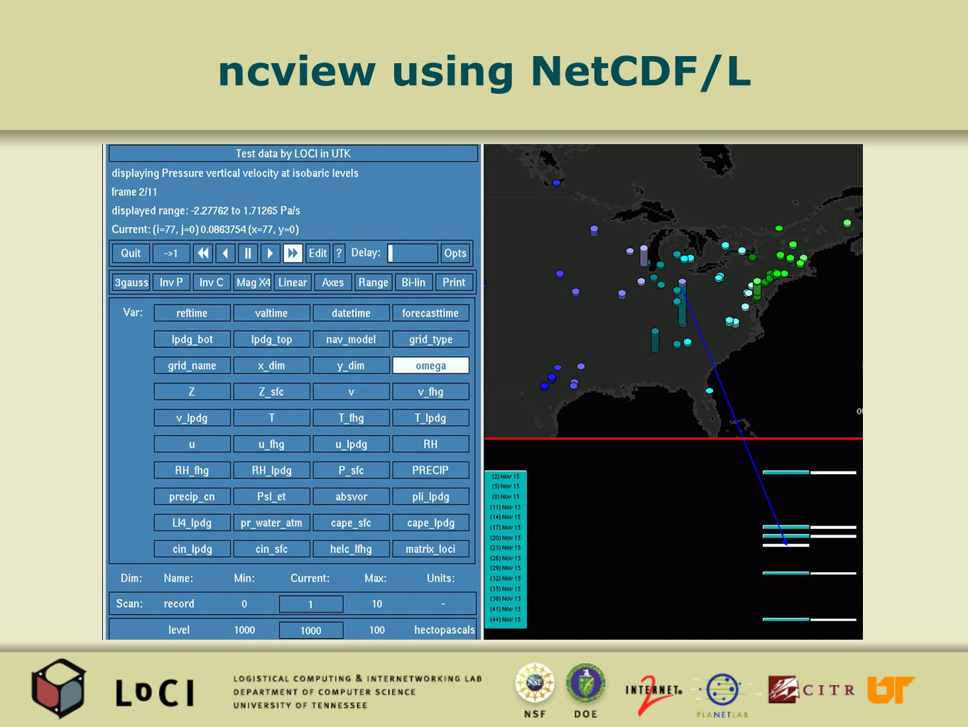 ncview using NetCDF/L