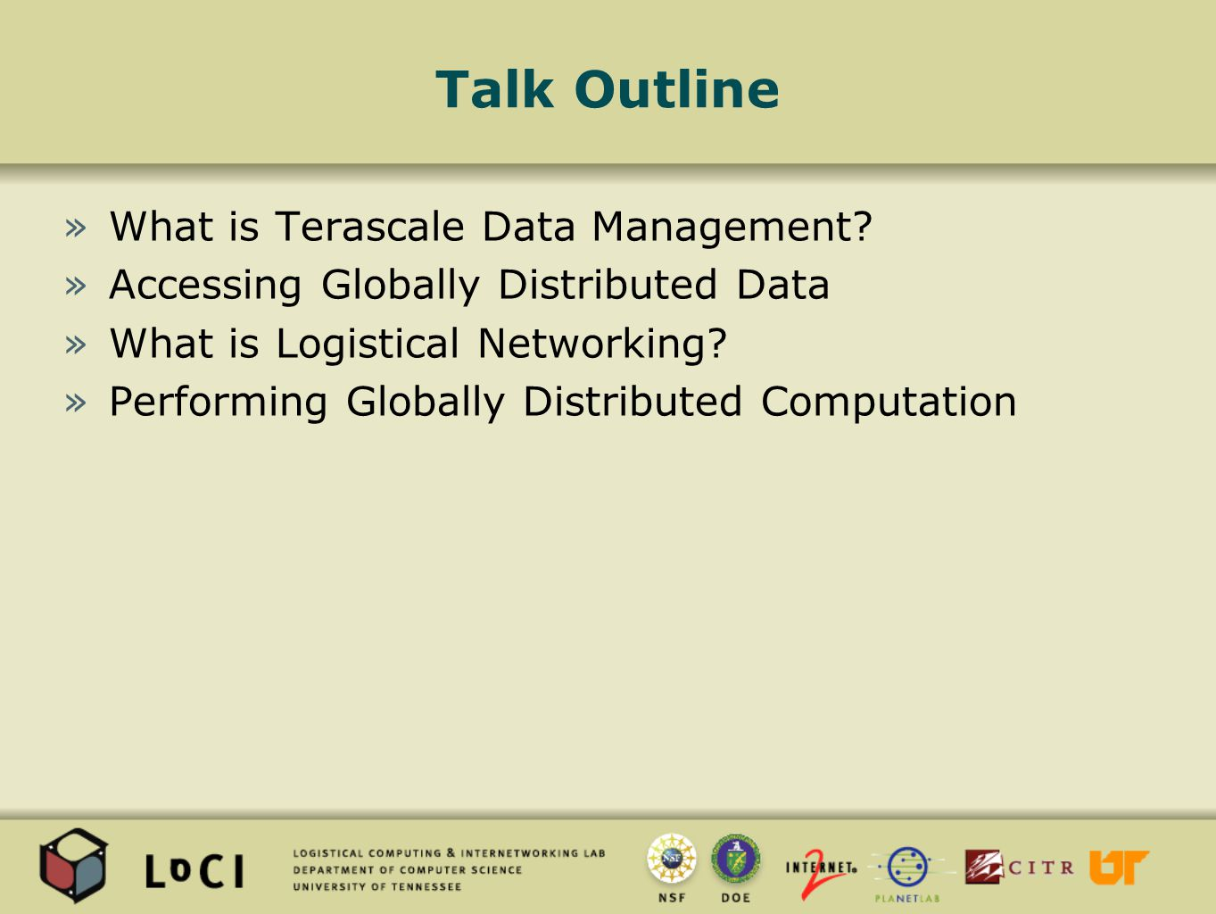 Talk Outline »What is Terascale Data Management.