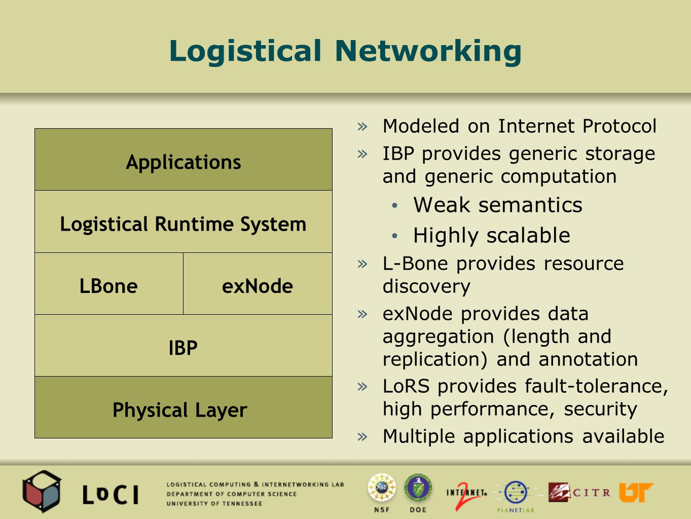Logistical Networking »Modeled on Internet Protocol »IBP provides generic storage and generic computation Weak semantics Highly scalable »L-Bone provides resource discovery »exNode provides data aggregation (length and replication) and annotation »LoRS provides fault-tolerance, high performance, security »Multiple applications available Physical Layer IBP Logistical Runtime System Applications LBoneexNode