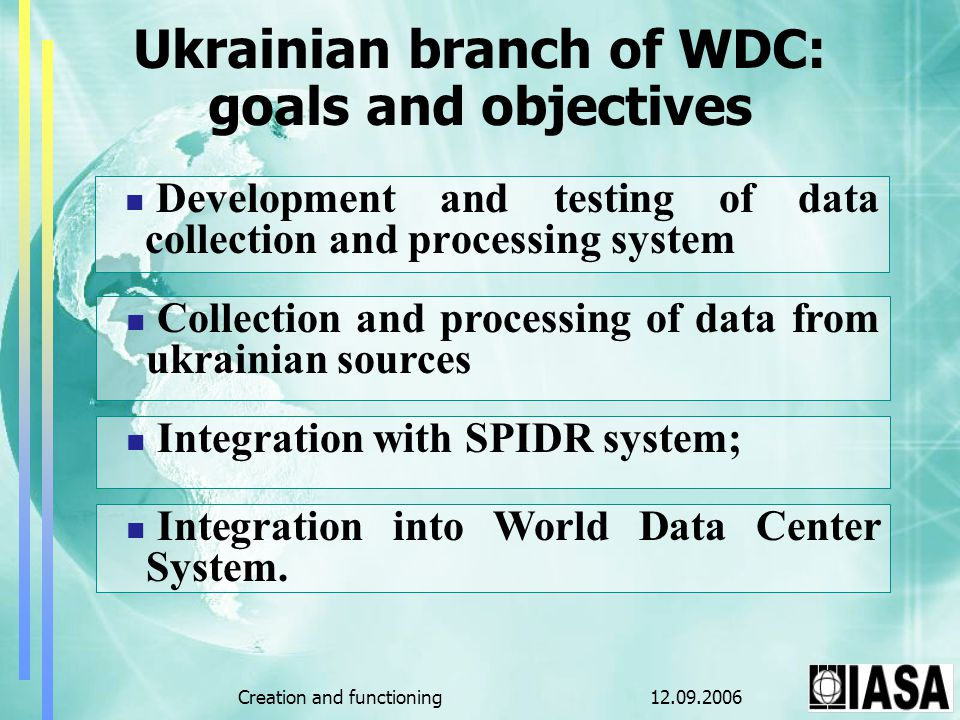 12.09.2006Creation and functioning Ukrainian branch of WDC: goals and objectives Development and testing of data collection and processing system Collection and processing of data from ukrainian sources Integration with SPIDR system; Integration into World Data Center System.