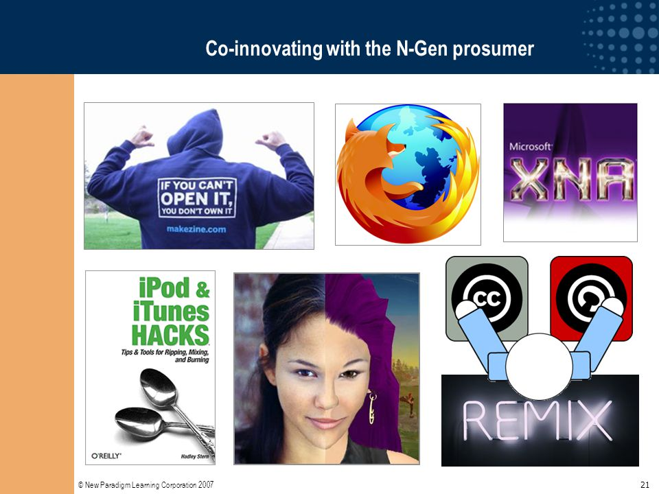 © New Paradigm Learning Corporation 2007 21 Co-innovating with the N-Gen prosumer