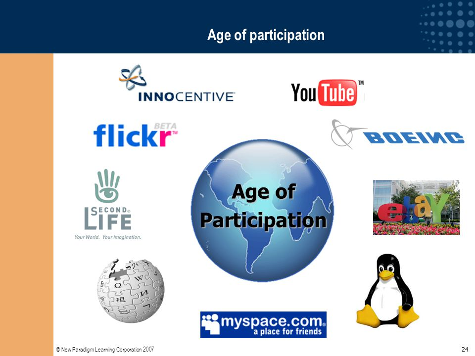 © New Paradigm Learning Corporation 2007 24 Age of participation Age of Participation