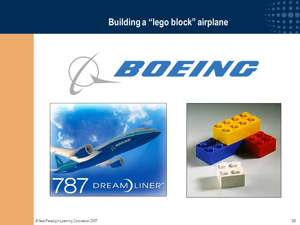 "© New Paradigm Learning Corporation 2007 30 Building a ""lego block"" airplane"