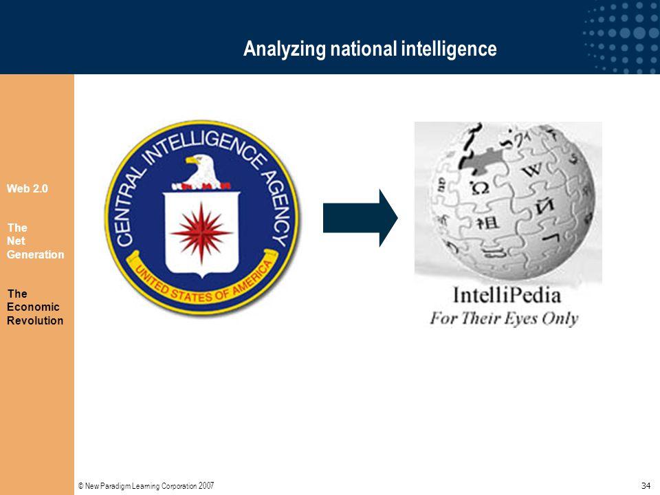 © New Paradigm Learning Corporation 2007 34 Analyzing national intelligence Web 2.0 The Net Generation The Economic Revolution